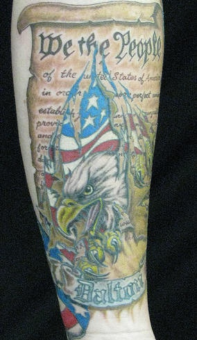Us constitution and eagle tattoo