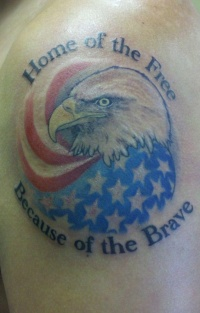 Cool patriotic tattoo with eagle and us flag