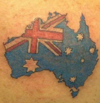 Australian flag and map tattoo